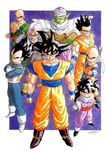 De gauche à droite : Vegeta, Ten Shin Han, Trunks, Son Goku, Piccolo, Yamcha, Son Gohan, Krilin