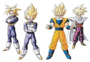 Trunks, Vegeta, Goku et Gohan en mode Super Saiyan durant le Cell Game