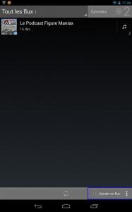 Une fois l'application installée sur votre terminal, il vous faut cliquer sur Ajouter un flux.