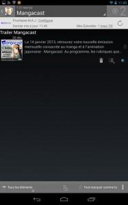 Voilà, vous avez ajouté Mangacast à vos podcasts sur votre terminal Android !