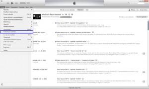 Cliquez sur Fichier, puis sélectionnez S'abonner au podcast.