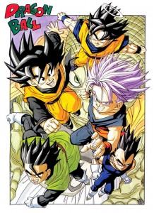 De gauche à droite : Son Goten, Son Gohan, Trunks, Son Goku et Vegeta durant l'arc de Buu