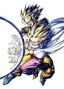 Goku & Gohan durant le Cell Game