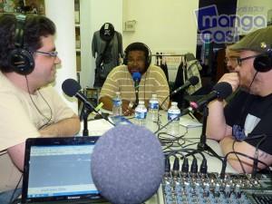 Mangacast n°04, de gauche à droite : Athras, Blackjack, Kobito et Olivier CHAMAILLARD