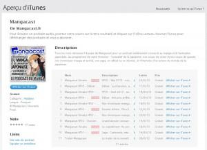 Mangacast sur iTunes (web)