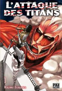Couverture du tome 1 de L'attaque des titans chez Pika